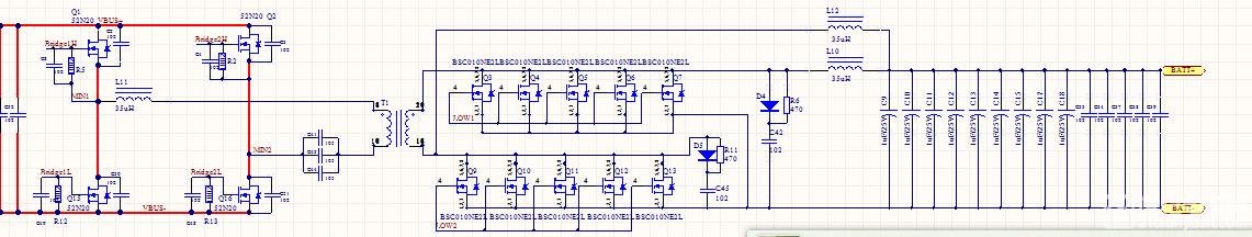输入端为图片右边的BATT+,BATT-,输入2V/20A; 输出端为图片左边的VBUS+,VBUS-; 控制方式:输入端管子占空比75%,且LOW1和LOW2相差180度,输出控制电平全低,相当于四个二极管整流。 现在遇到的问题是输出端不接电容和接电容,变压器输出端的波形相差太大。 负载接的是金属膜电阻,20。 请教下,可能是那里出问题了,在VBUS+,VBUS-我需要得到一个直流电压。 1、如下图,输出端不接电容,也就是VBUS+,VBUS-两端不接电容直接接电阻负载。 2、如下图,输出端不接电容,直