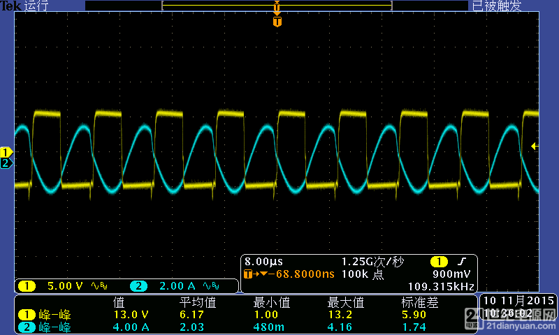 36V 下管MOS驱动波形和电流波形.png