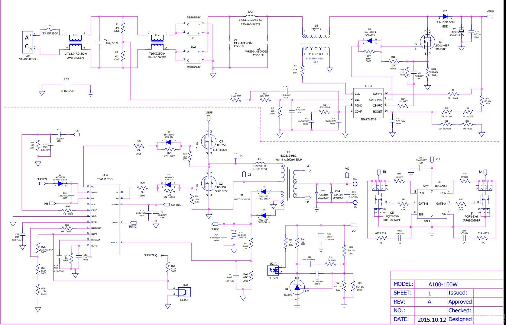 tea1716 tea1995(llc sr),100w 超薄超小高效高端电源适配器