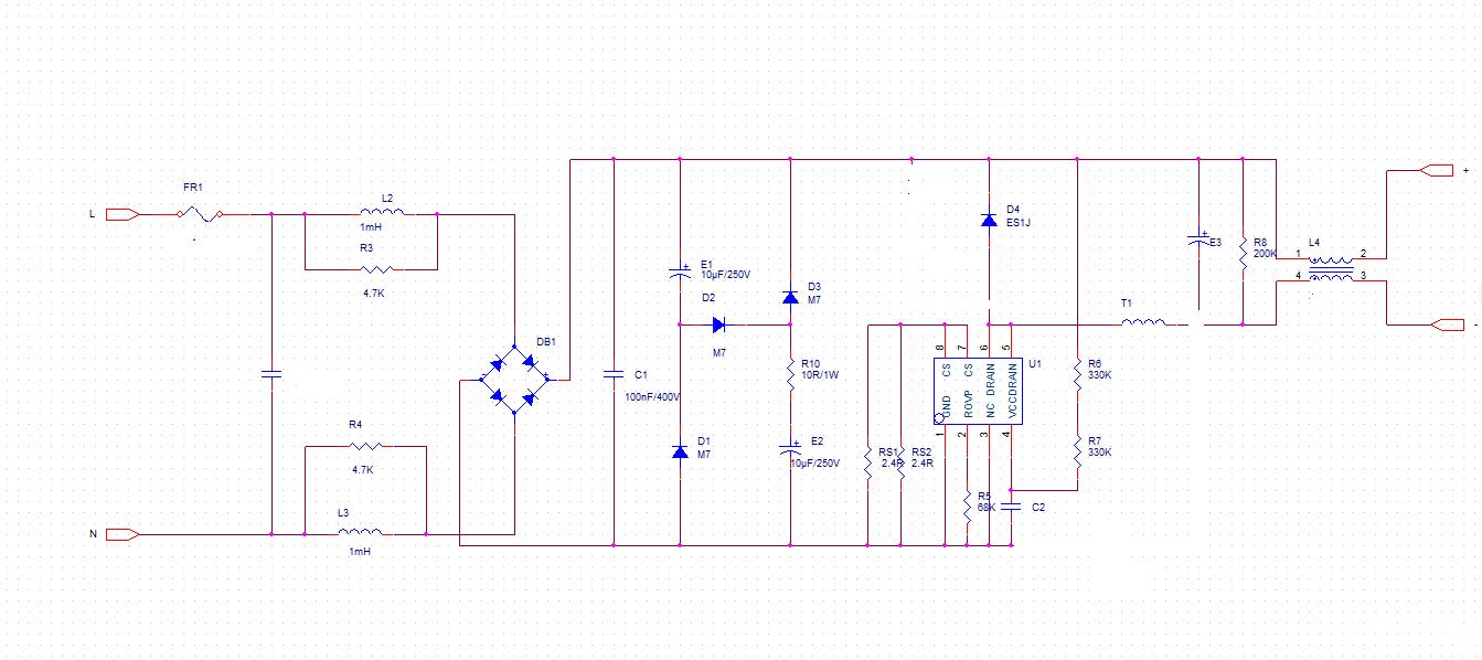 填谷电路的电解电容波形