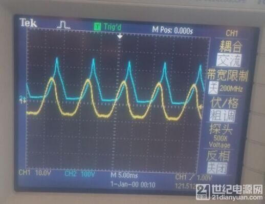 CH1是纹波电压,CH2是输入电流20A/格