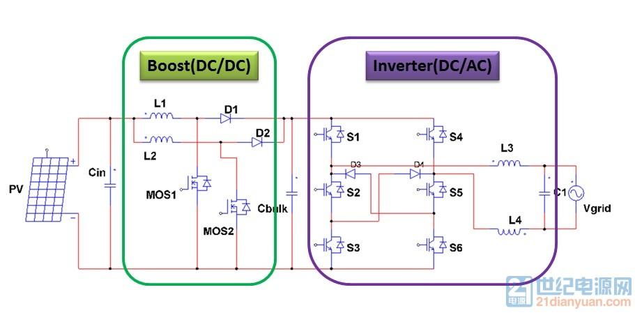 单项光伏并网系统电路结构.jpg