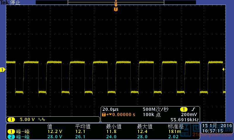 100V输入 PFC驱动波形