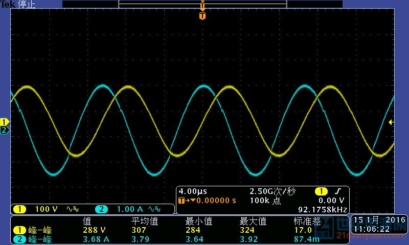 初级谐振电容电压波形与谐振电流波形