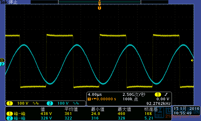中点电压波形与谐振电容电压波形