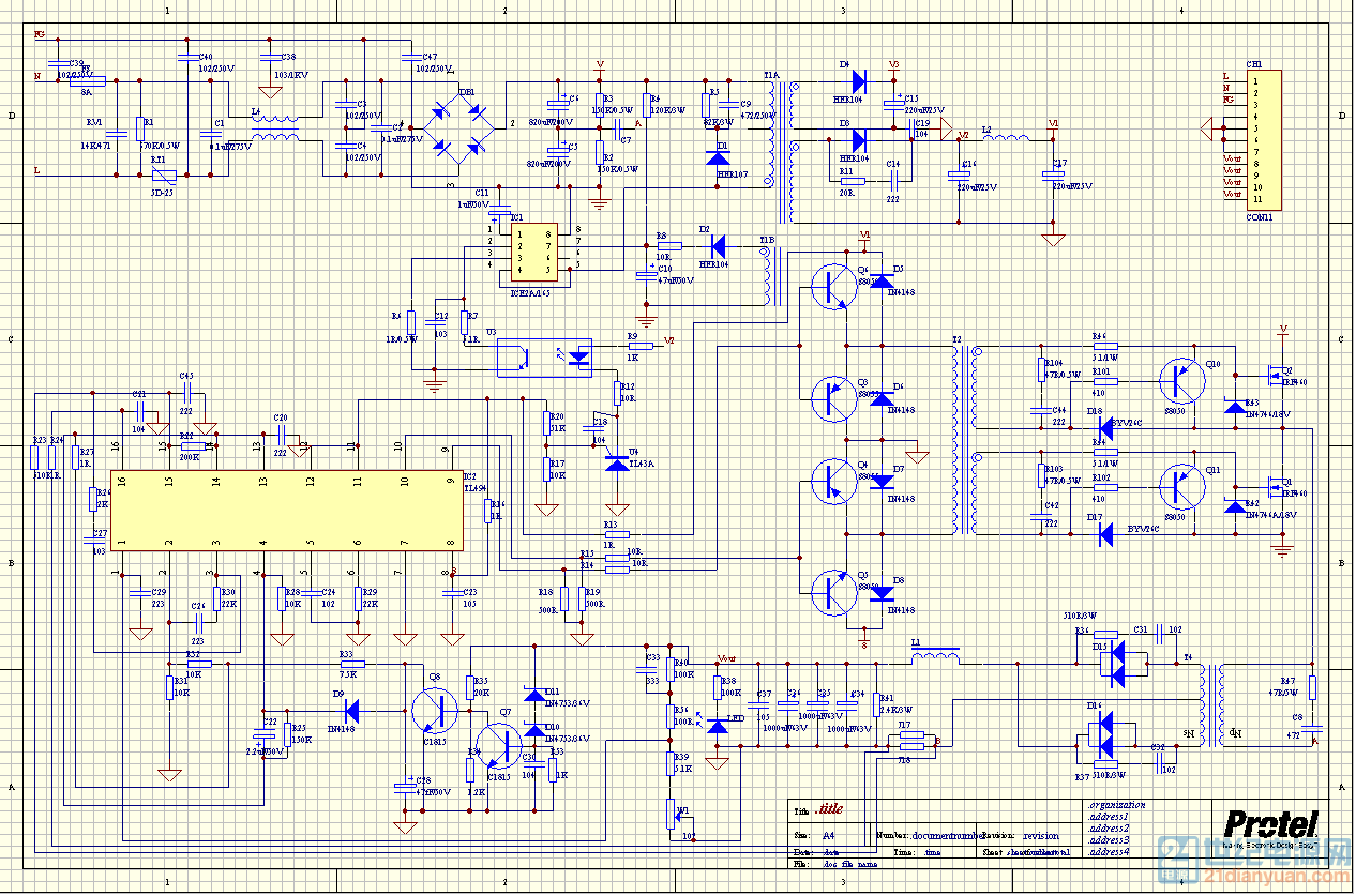 48v500w半桥开关电源原理图