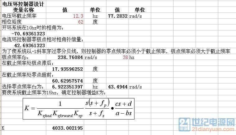 电压环补偿环节增益和零极点
