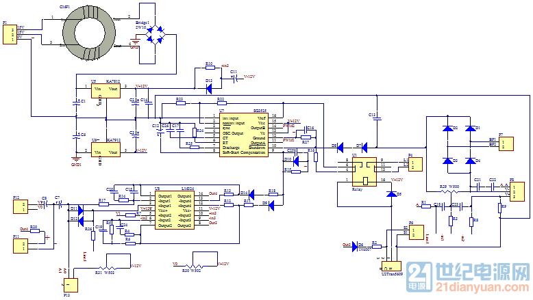 一种sg3525和lm324构成的调压控制电路,看了好久都没看出它的调压原理