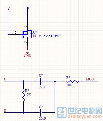 这是面包板上搭的验证电路,上部分是是检测,设备连接后g极会有vcc/2的