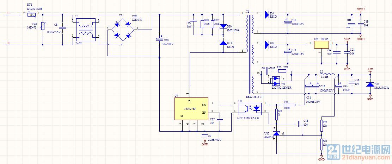 目前为在设计一款基于PI公司的TNY278开关电源,AC 85~265V输入,多路隔离输出5V/1.5A,15V/0.1A, 5V/0.1A 测试发现效率异常问题。 问题描述如下: 在相同负载下(大约2W),AC 85V电源输入功率为2.556W,而AC 265V电源输入时发现功率居然是7.76W,居然大了3倍,效率极低。 我想问的是什么原因会导致这种情况发生,该如何整改。请大家帮帮忙。