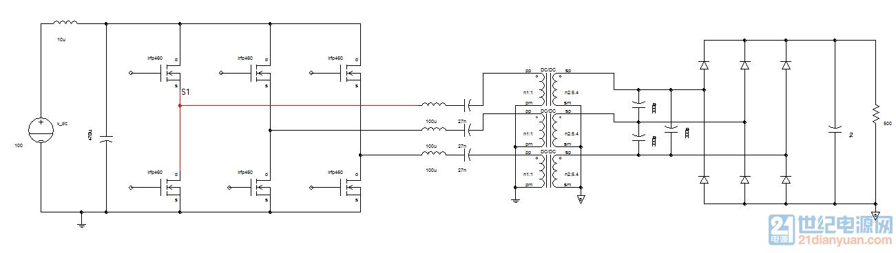 三相LCC拓扑变压器Y-Y型连接