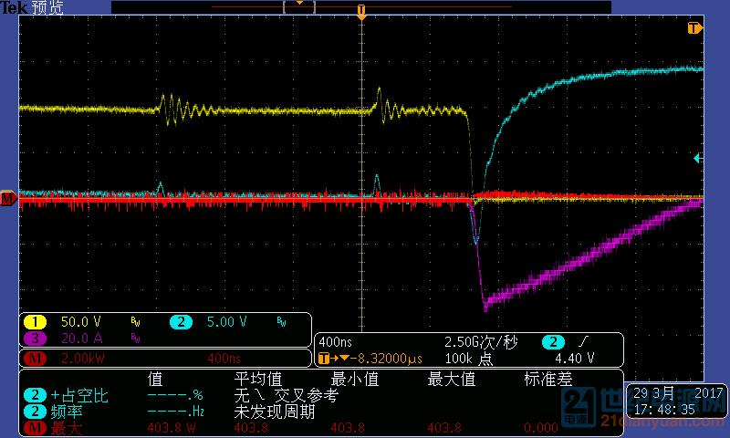 蓝色为驱动,粉色为漏极电流,黄色为Vds,红色为功率损耗