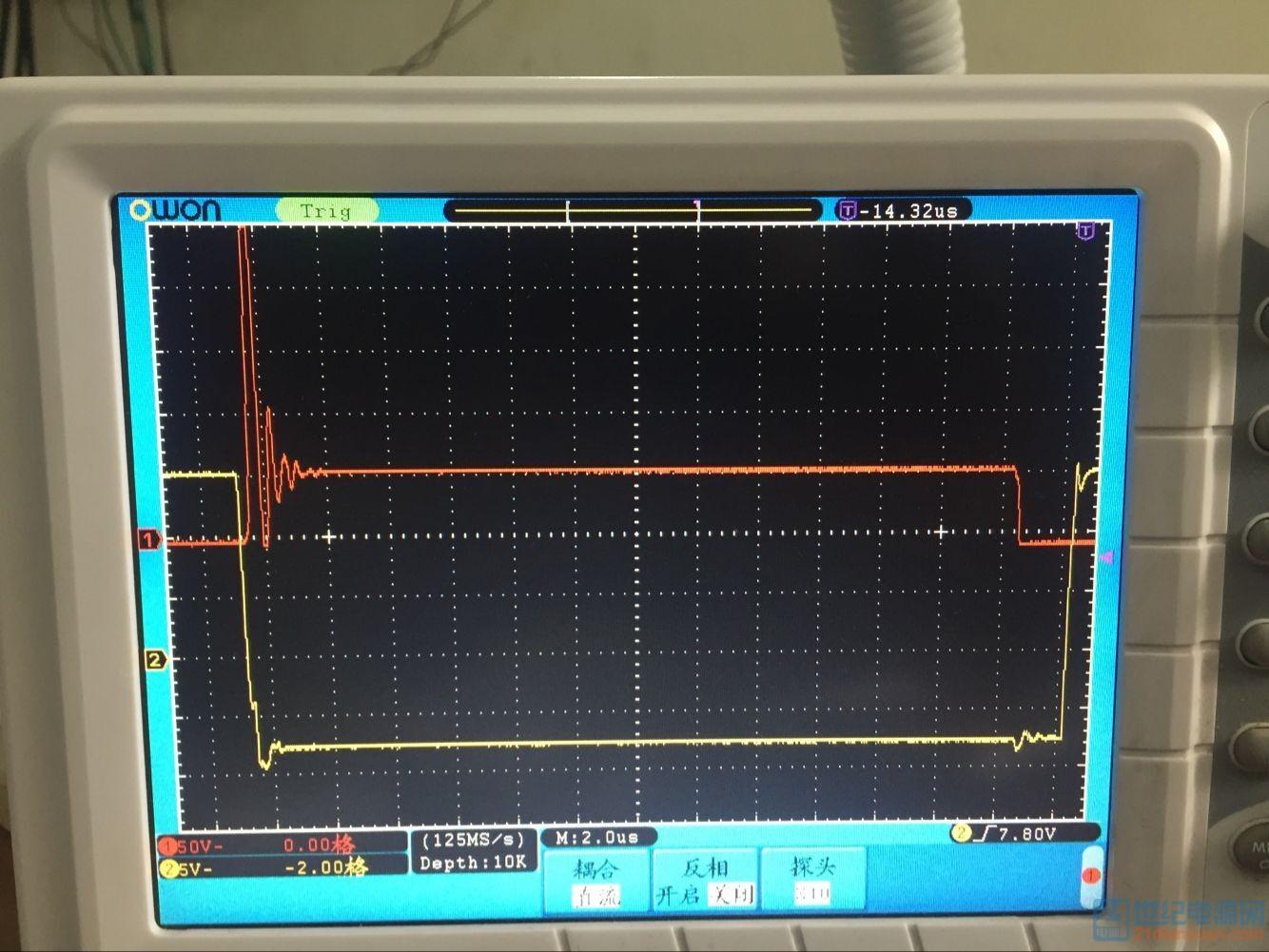 黄色是驱动信号,红色是IGBT的Vce