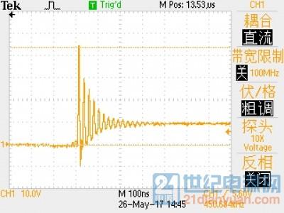 示波器TBS1102:100M带宽下所测