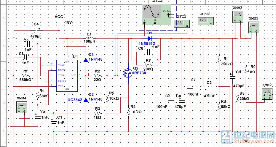 基于uc3842的dc-dc升压电路18v转36v 2a