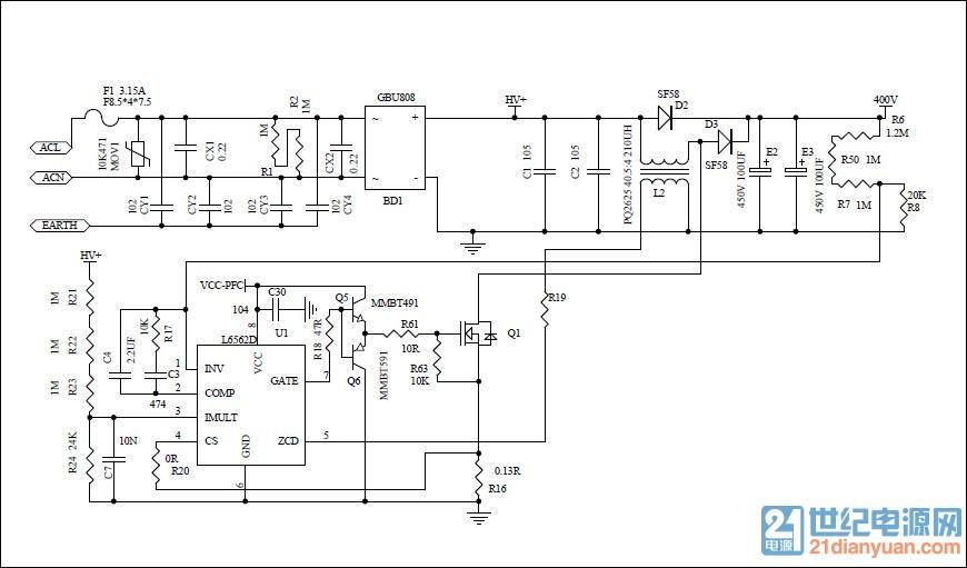 然后apfc的电感用磁环来绕,zcd直接串电阻接到整流桥后的分压电阻不