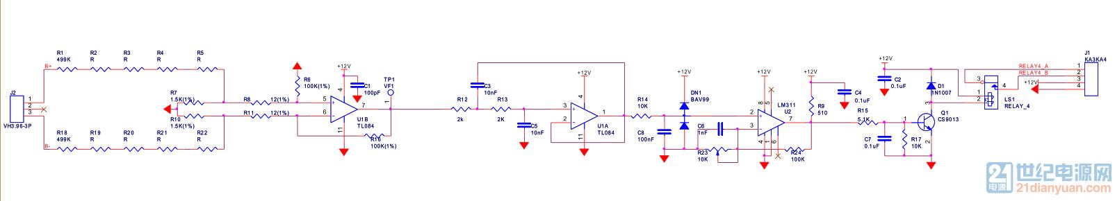 小弟最近在测一个电路,功能是当检测到J2口的电压超过一定值时闭合继电器,但是在测试的时候遇到了各种问题,突出的有: 1、运放一供电7脚就有11.42V的电压,把R12去掉还是有,把R7、R10或者R8、R11去掉7脚输出是2V左右。 2、继电器线圈上一直都有12V的电压,把R14去掉仍然有,测量LM311输出一直有10左右电压,R24到LM311的7脚已经割断了,用跳线接在R9上端。 刚接触这一块,都快调崩溃了。各位大神帮忙分析一下这个电路到底哪里出问题了,万分感谢!