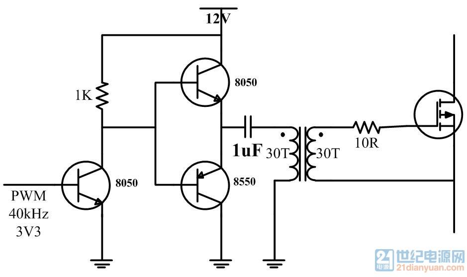 这个变压器驱动mos的电路能用?
