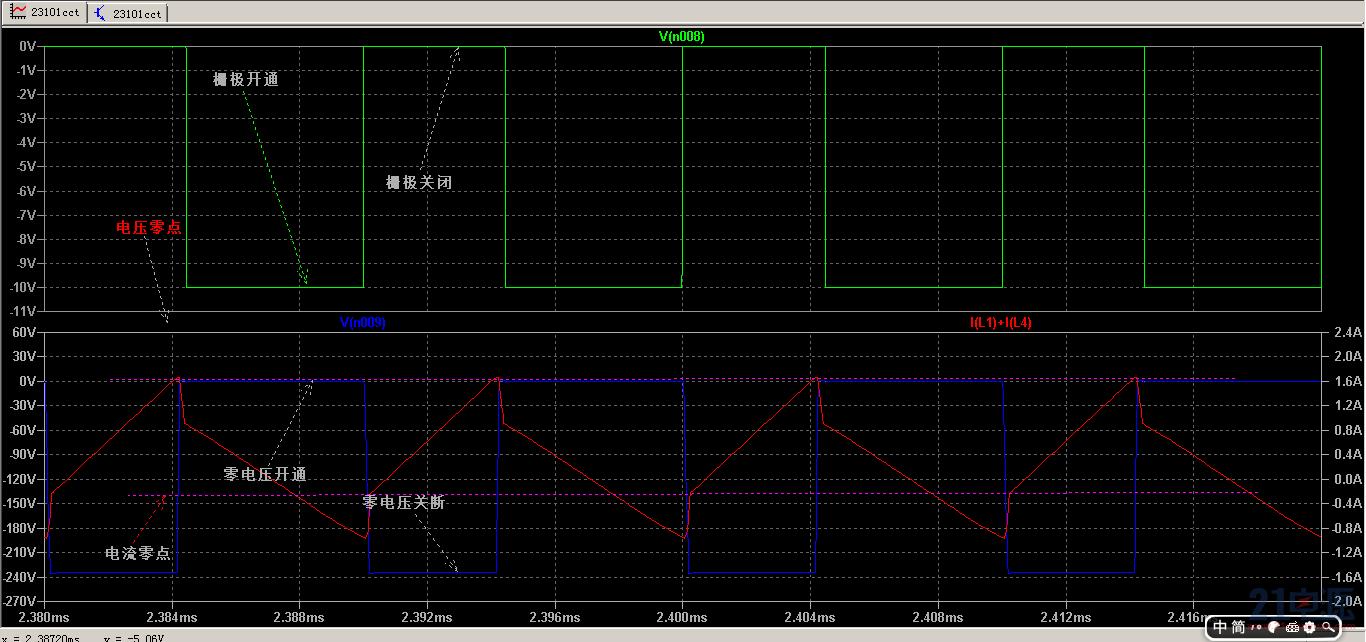 辅助功率管节点详细波形