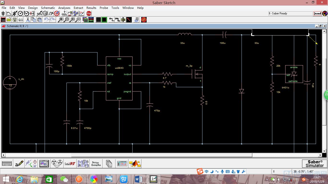 关于saber仿真uc3843cuk拓扑的dc/dc开关电源