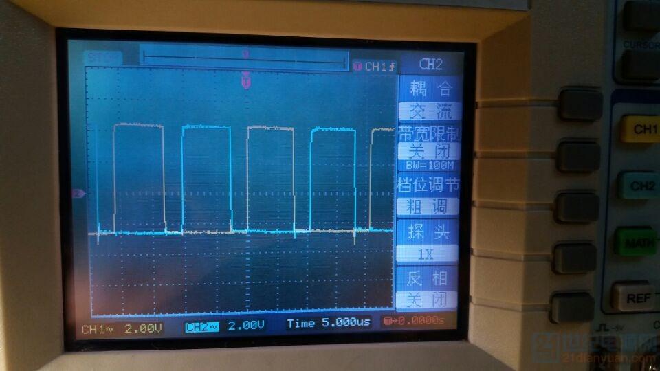 11,14脚输出的方波信号,死区为三角波下降沿,占空比最大时的图像