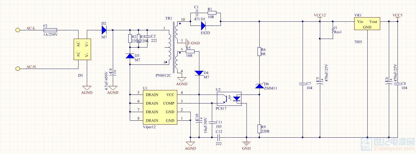 求助:viper12方案开关电源烧毁反馈电路