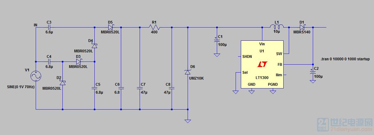 LTspice仿真时,经过前面的倍压整流滤波电路和稳压管稳压后,接入到DC-DC升压芯片LT1300时,就仿真速度特慢 ...