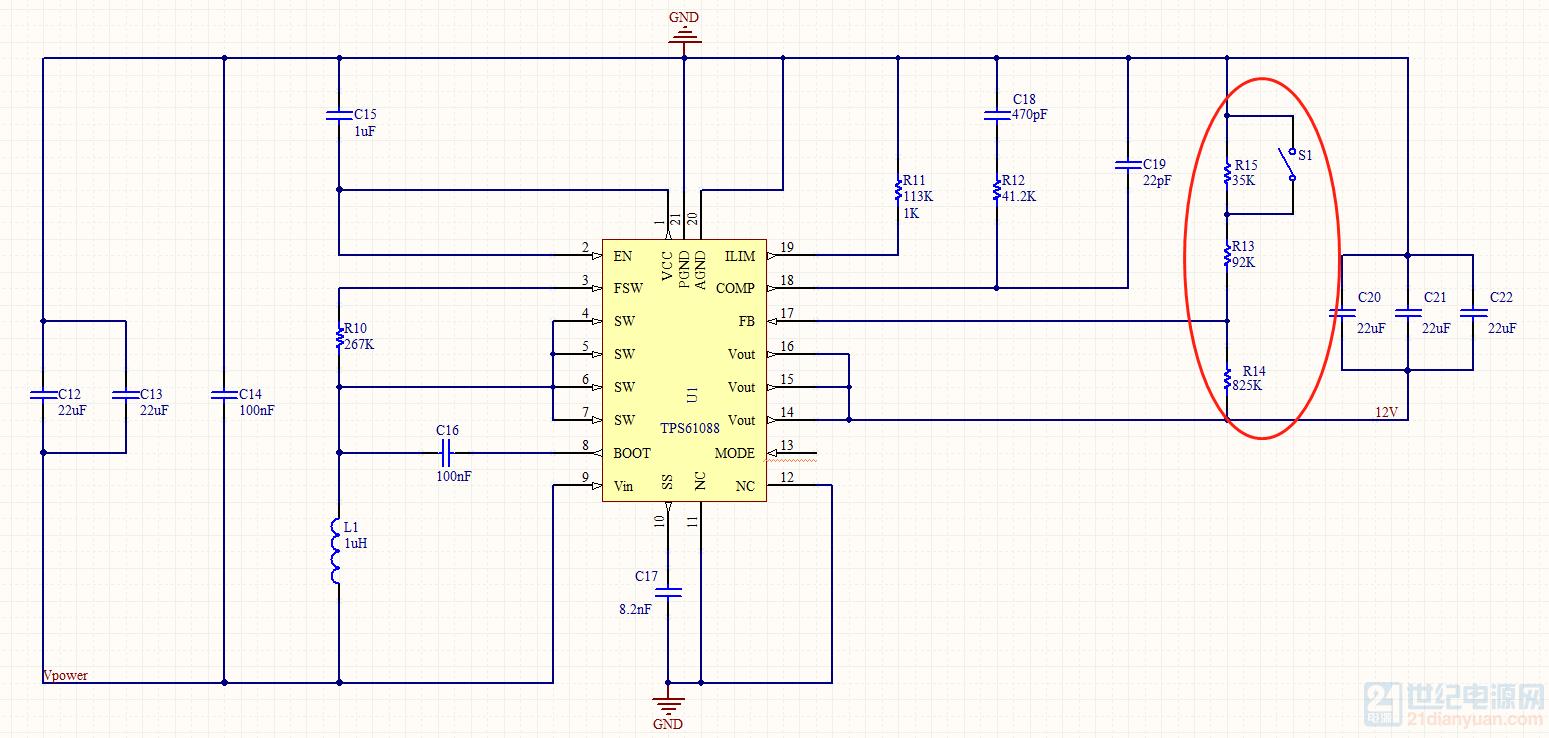 历届会议资料  10问答币     这是一幅tps61088的升压电路图,红色圈住