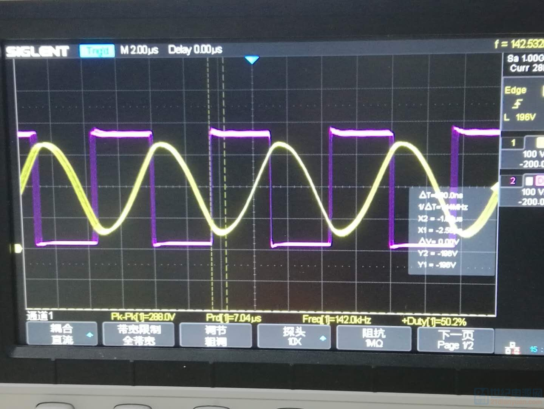 1270W输出时谐振电容电压和HB电压波形