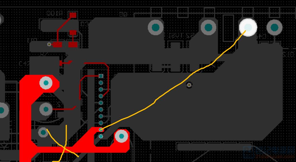 GND割断,直接飞线至变压器脚