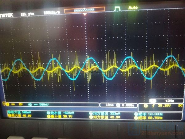 这是输出电压和电流波形