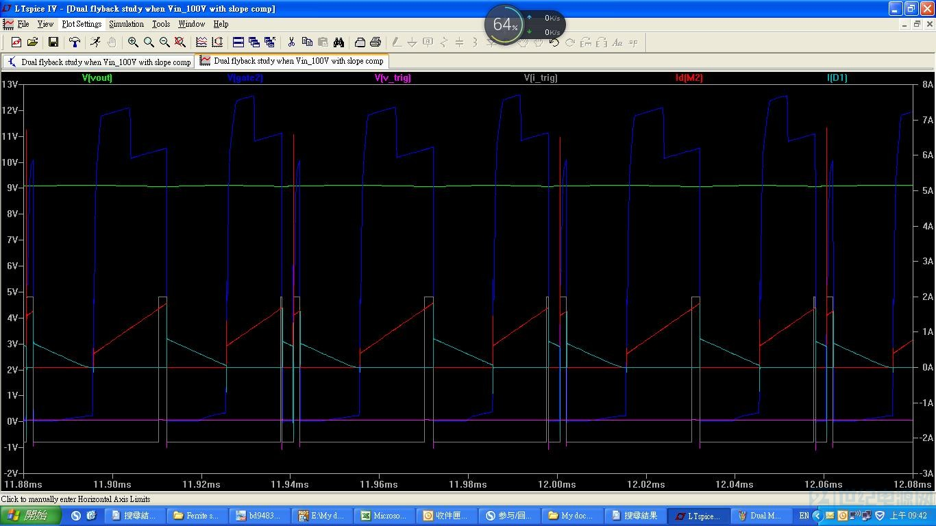 Dual MOSFET flyback duty study 7 with slope comp and Vin_120V.JPG