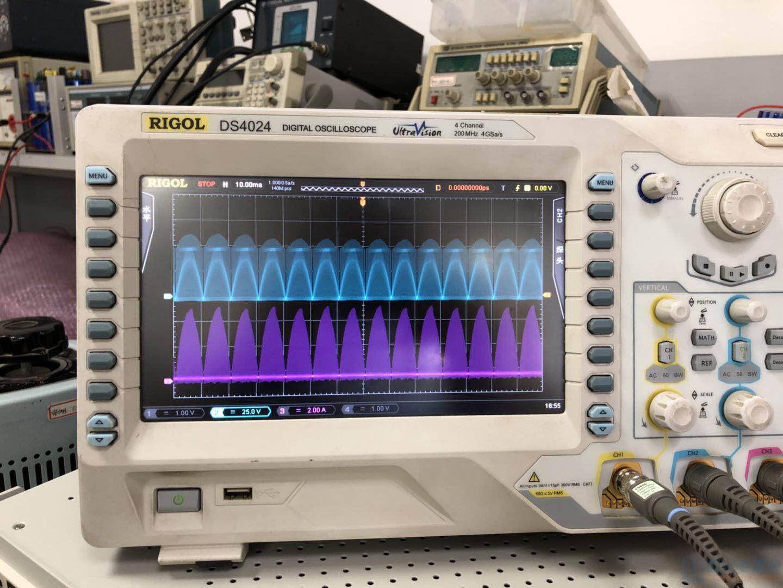 轻载时开关波形和电感电流波形