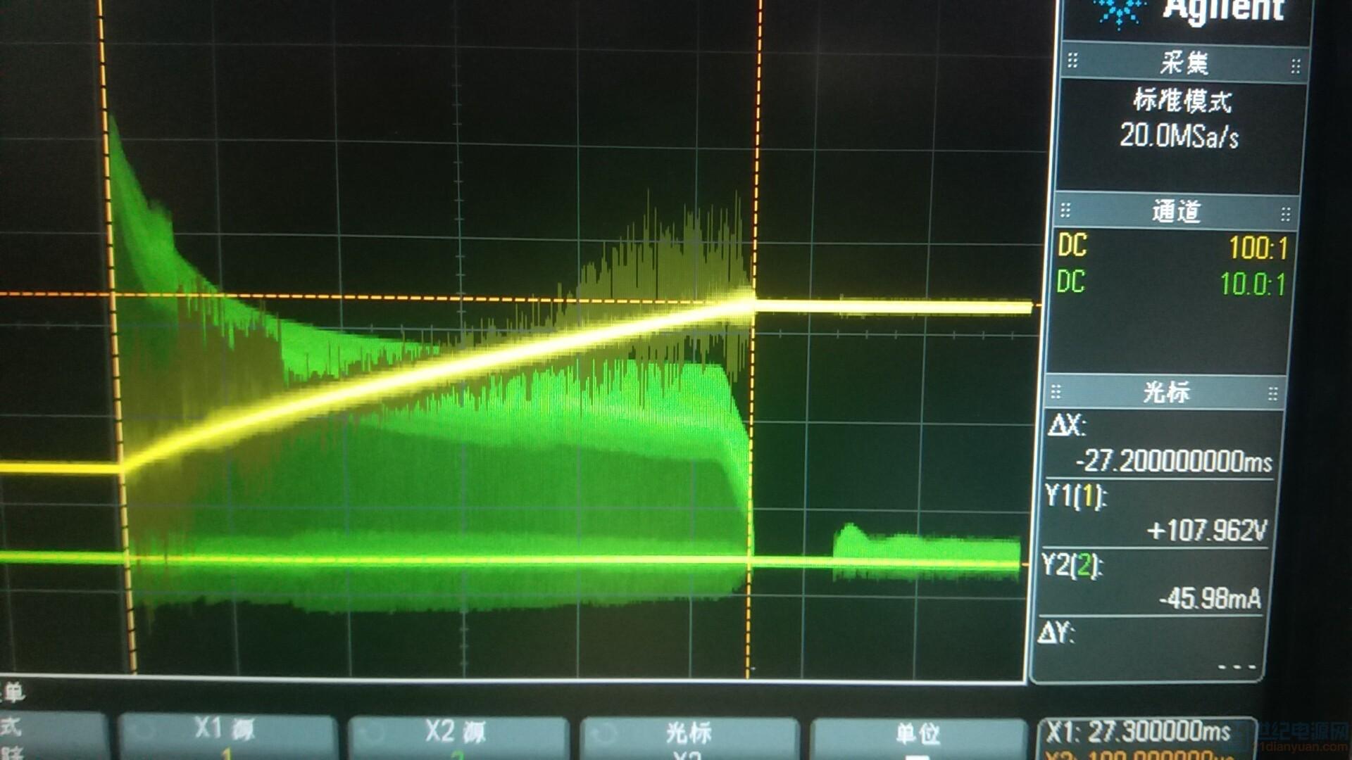黄色是输出电压,绿色是次级电感电流波形