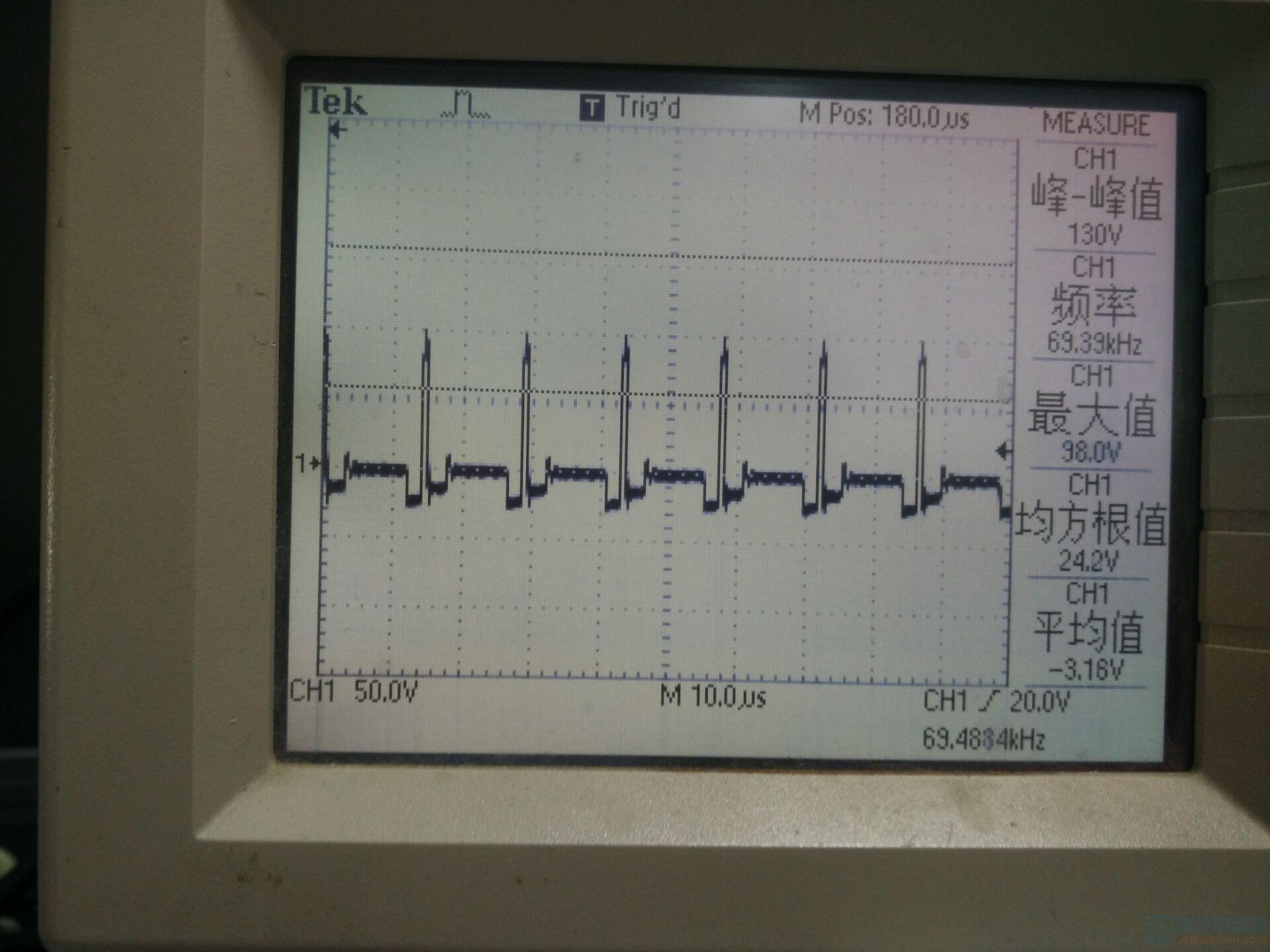 负载5V1A的时候mos管的DS波形