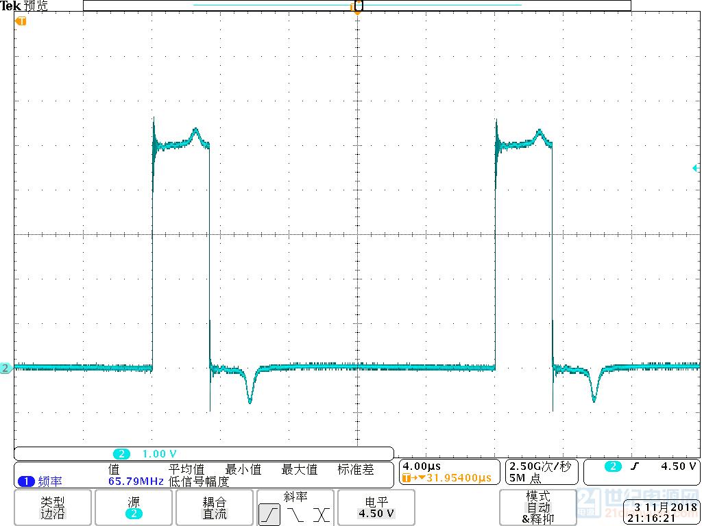隔离输出电压波形,即驱动输入电压波形