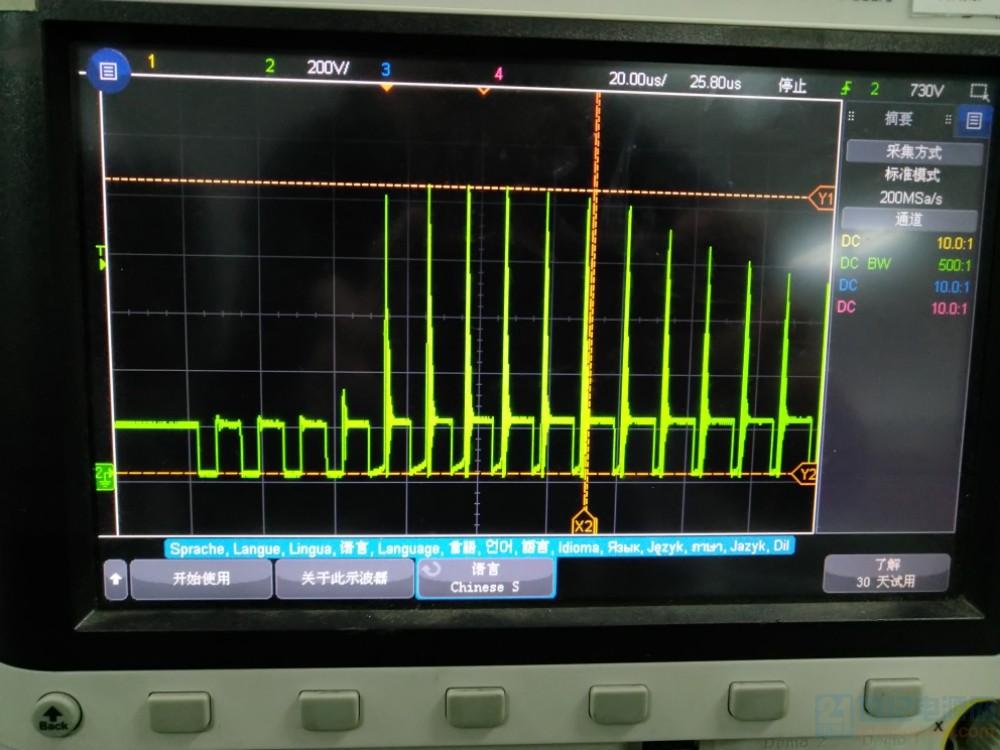 起机时候MOS管DS尖峰展开图