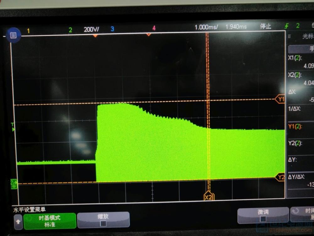 加TVS后起机电压750V(管子耐压900V).png