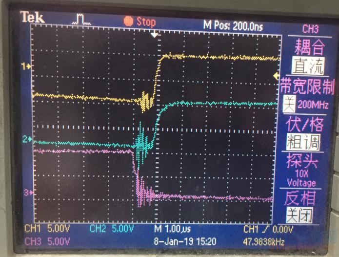 蓝色和红色为同一桥臂的两个管子驱动波形