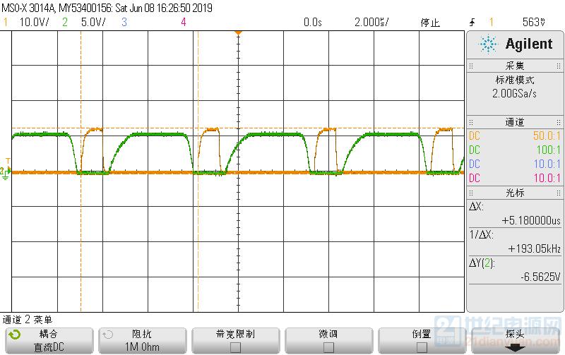 图一:VZCD(绿)、VGS(黄)