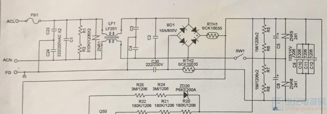开关切换110-220V ,双电容倍压电路