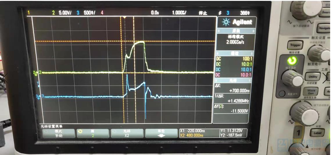 AC500V输入5W输出VGS和CS的波形。黄色是VGS