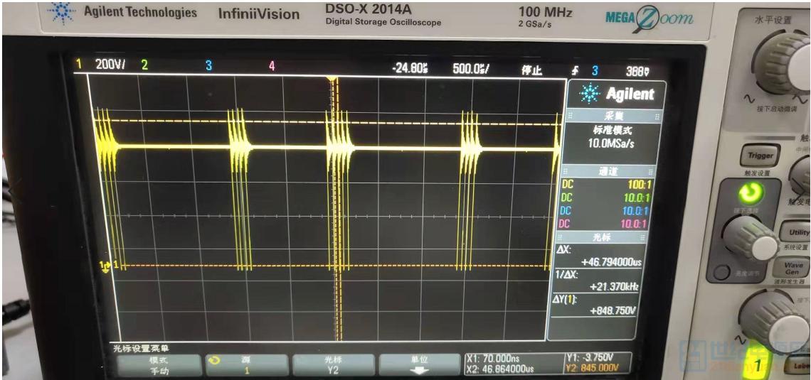 AC500V输入空载时增大示波器X轴后VDS波形