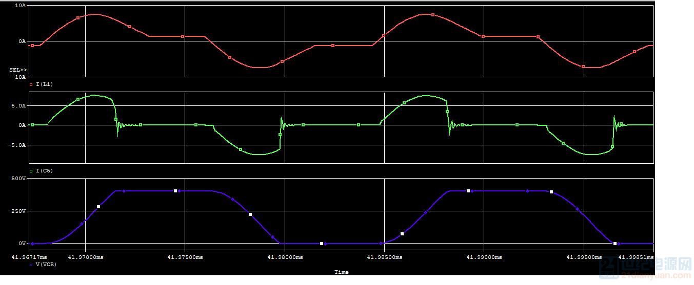 Cr电容上电压和电流波形