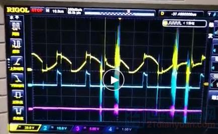 变压器吱吱响时,驱动VGS和VDS波形.png