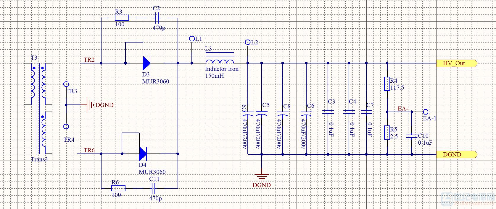 这个是我的输出整流电路