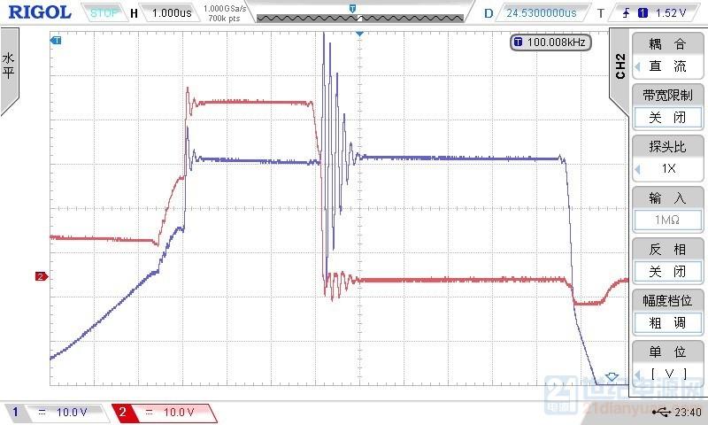 1与2的零点位线重合,1是自举驱动栅极波形,2是副边绕组波形
