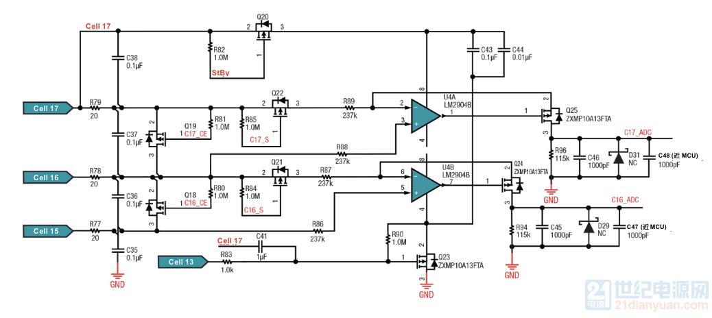 17串电池组最高两节用双通道通用运算放大器LM2904B监控高两串电池电压目的是什么?不.png