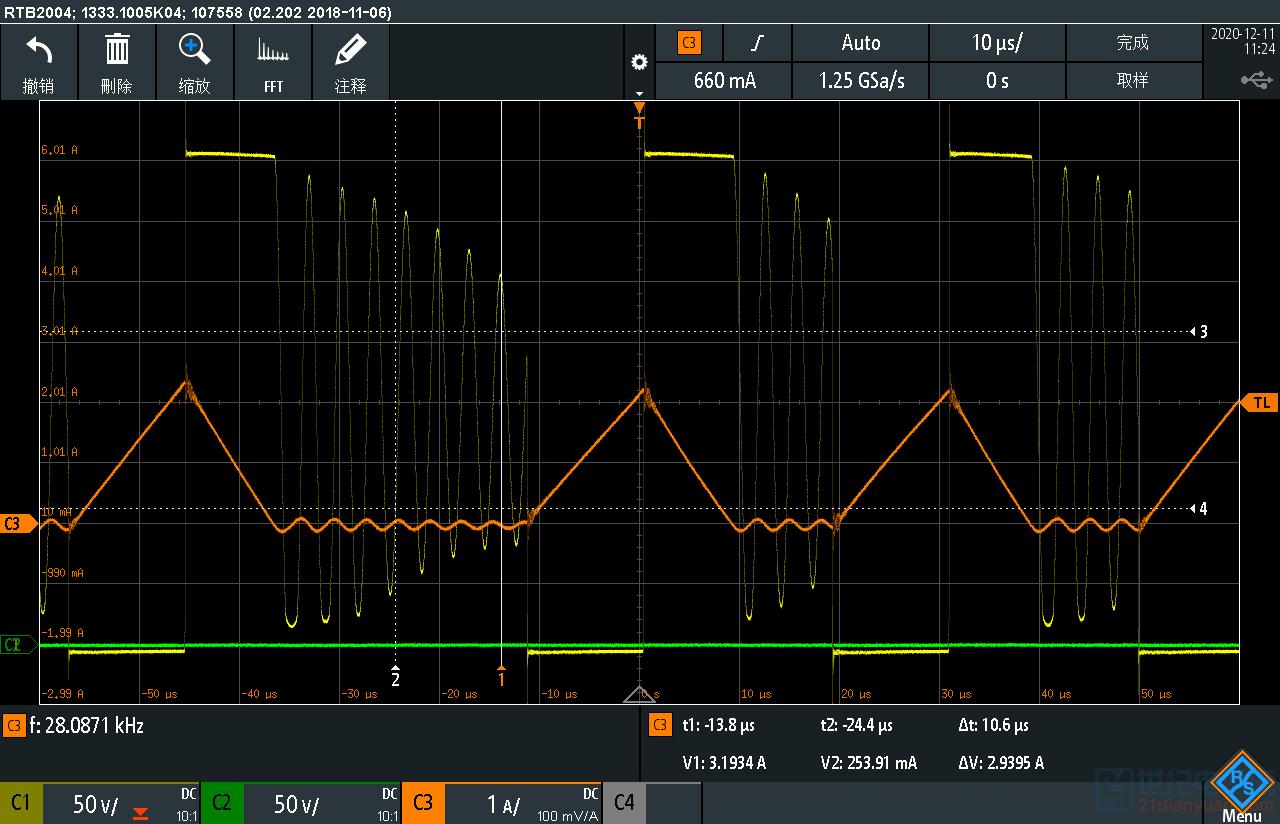 PFC电感电流,出现跳两个周期