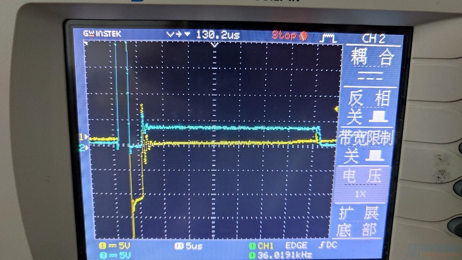 蓝色是Vds波形,黄色是副边电阻的波形